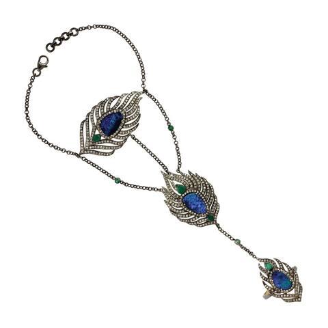 18Kt Gold 925 Silver Diamond Feather Emerald Opal Doublet Slave Bracelet Gemstone Jewelry with Jewelry Box