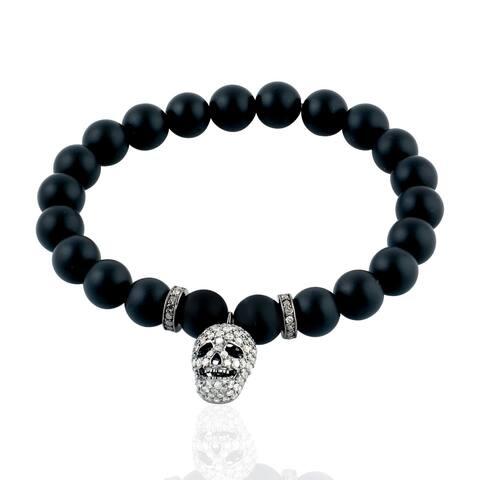 925 Silver Diamond Skull Onyx Fixed And Flexible Bracelet Semiprecious Stone Jewelry With Jewelry Box