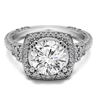 TwoBirch Vintage Halo Engagement Ring With Brilliant Moissanite By TwoBirch In Platinum 3 26 CT