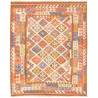 eCarpetGallery  Flat-weave Bold and Colorful  Brown, Cream  Kilim - 5'3 x 6'7