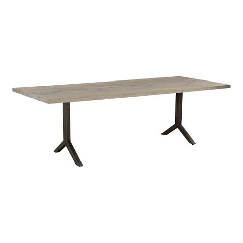 Aurelle Home Bucha Grey Solid Oak with Metal Inlay Modern Dining Table