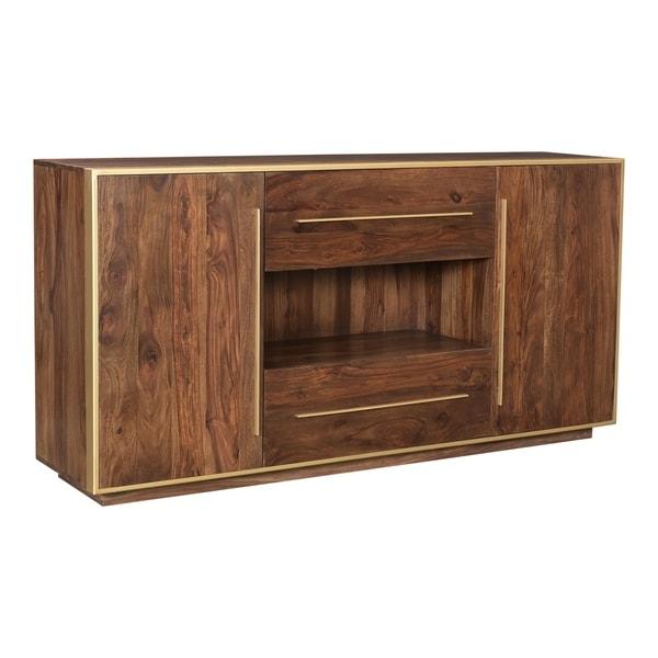 Aurelle Home Finley Sheesham Wood and Brass Modern Sideboard