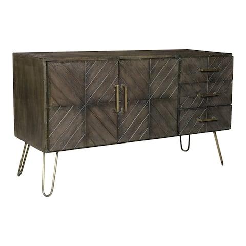 Aurelle Home Grey Mango Wood and Brass Storage Modern Sideboard
