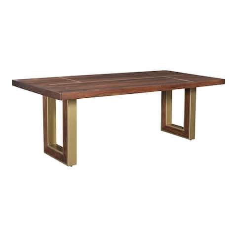 Aurelle Home Finley Sheesham Wood and Brass Modern Dining Table
