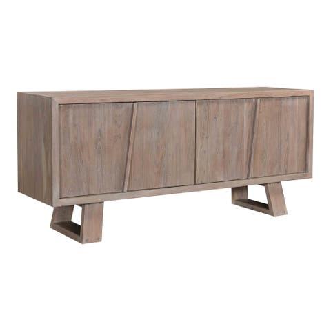 Aurelle Home Tina Light Grey Solid Acacia Wood Modern Sideboard