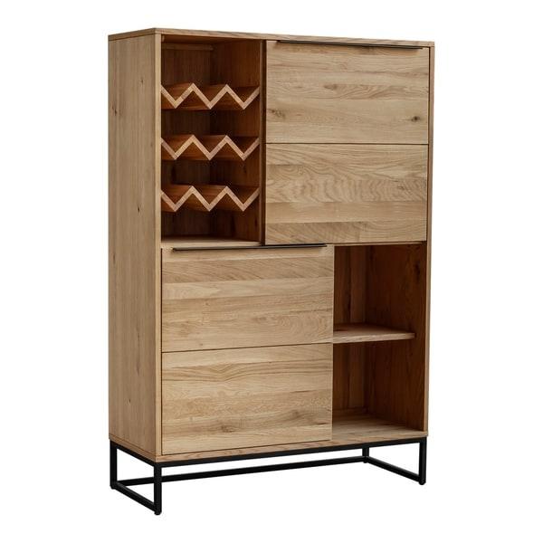 Aurelle Home Brown Natural Industrial Farmhouse Oak Bar Cabinet