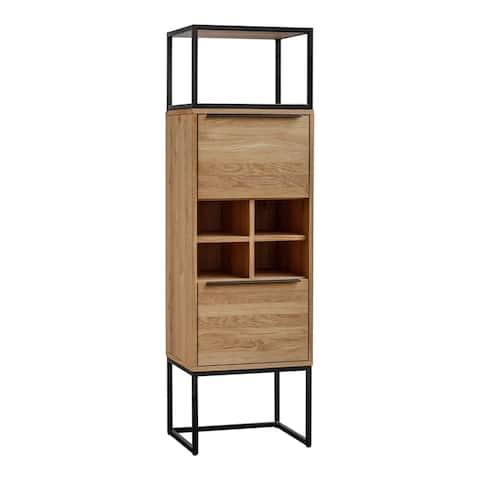 Aurelle Home Brown Natural Farmhouse Oak Tall Bar Cabinet