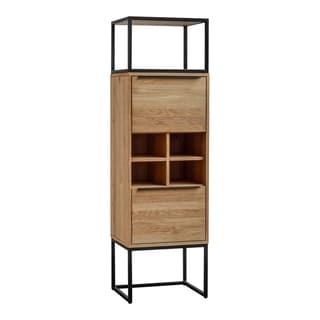 Aurelle Home Brown Natural Industrial Farmhouse Oak Tall Bar Cabinet