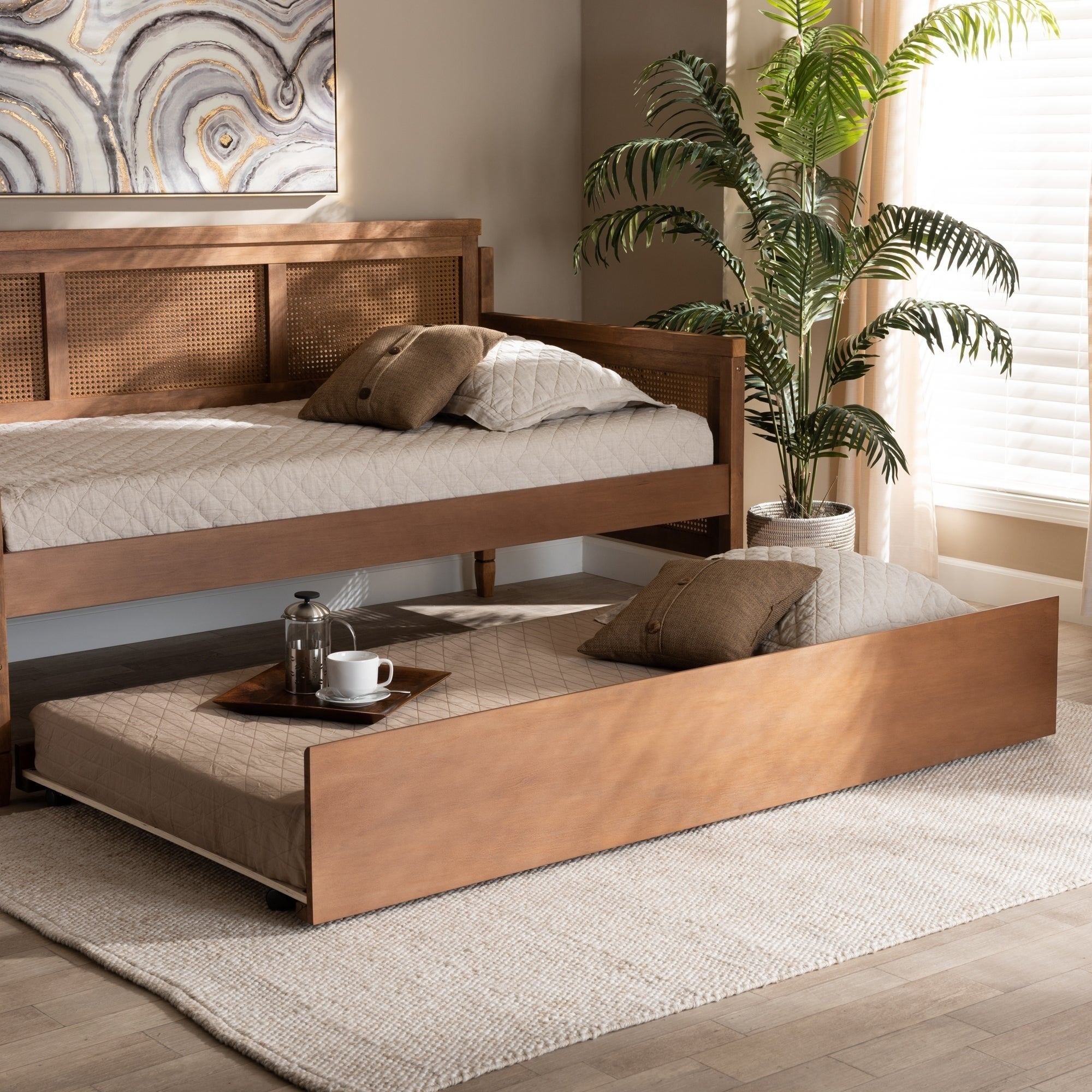 Picture of: Toveli Modern And Contemporary Trundle Bed Overstock 29094979
