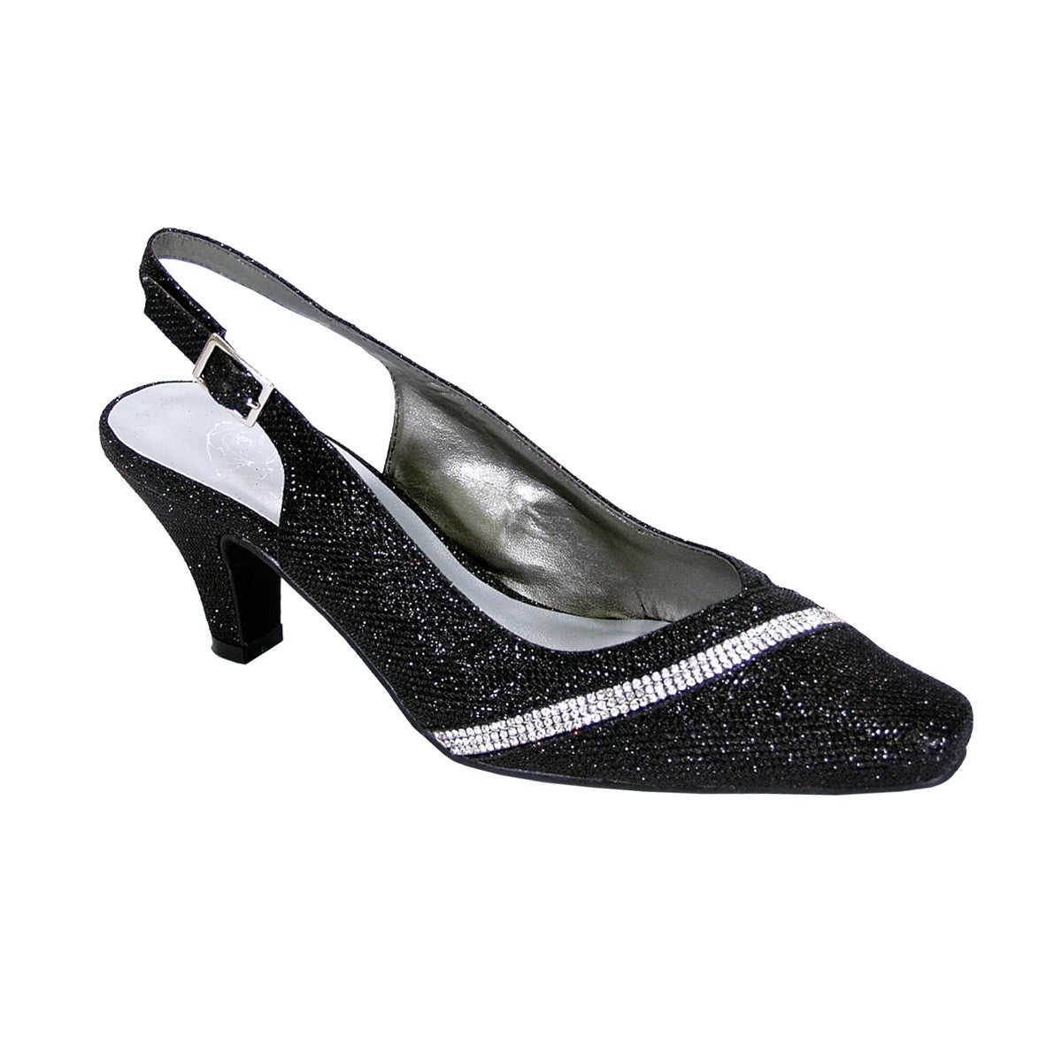 Floral Candice Women Wide Width Pointed Toe Decorative Crystal Strip on Vamp Slingback Size//Measurement 8.5 E, Blue