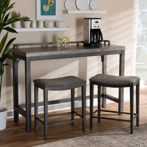 Noll Modern and Contemporary Upholstered 3-Piece Counter Table Set