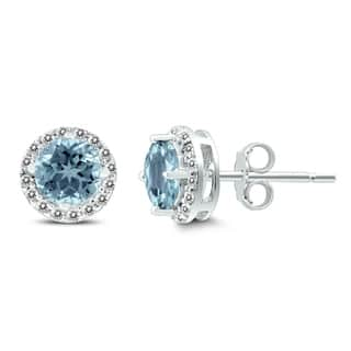 Aquamarine and White Topaz Halo Stud Earrings in .925 Sterling Silver