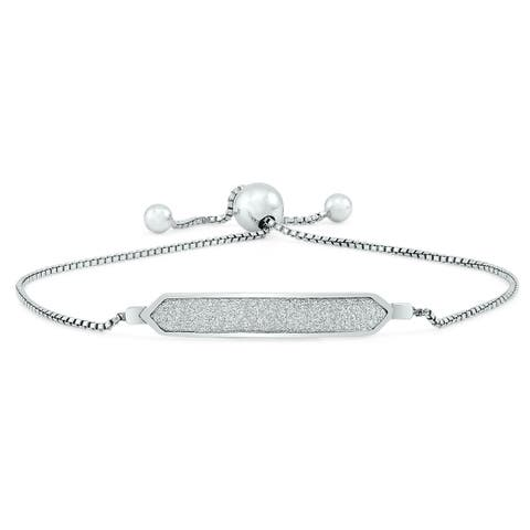 Sparkle Dust Bar Bolo Bracelet in .925 Sterling Silver