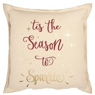 """Rizzy Home Natural  Typography 20""""X20"""" Filled Pillow"""