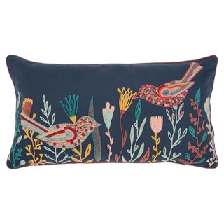 """Rizzy Home Blue, Yellow, Pink Birds 14""""X26"""" Filled Pillow"""