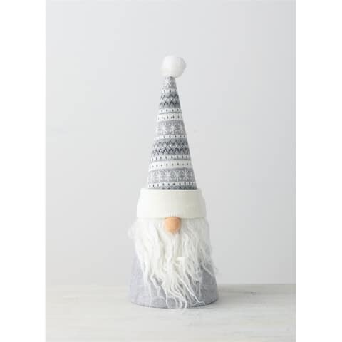 "Grey & White Knitted Gnome Tree Topper - 5.5""L x5.5""W x15""H"