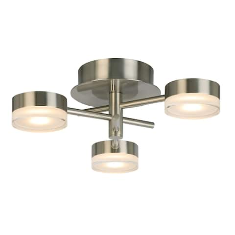 Eglo Transton 3-Light Integrated LED Ceiling Light w/ Brushed Nickel Finish