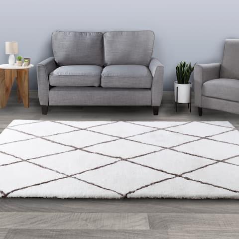 Windsor Home Diamond Shag Area Rug- Plush Pattern Carpet- Modern Design