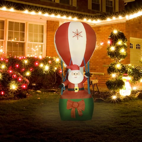 9-foot Inflatable Santa in Hot Air Balloon with LED Lights