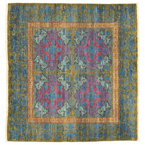 eCarpetGallery Hand-knotted Signature Collection Dark Blue, Olive Rug - 5'1 x 4'9