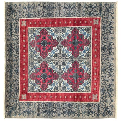 eCarpetGallery Hand-knotted Signature Collection Grey Rug - 6'2 x 6'0