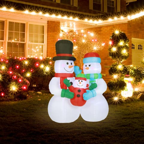 8Ft Snowman Family Inflatable with LED Lights