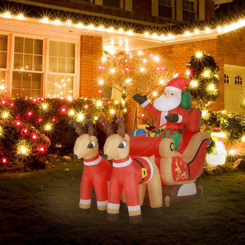 """59"""" Santa and Sleigh Inflatable with LED Lights"""