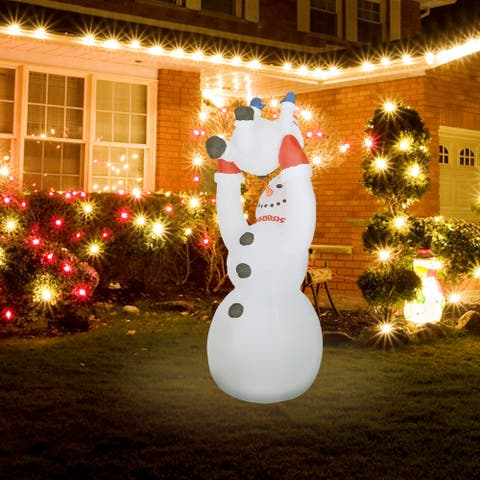 8Ft Snowman Family Playing Inflatable with LED Lights