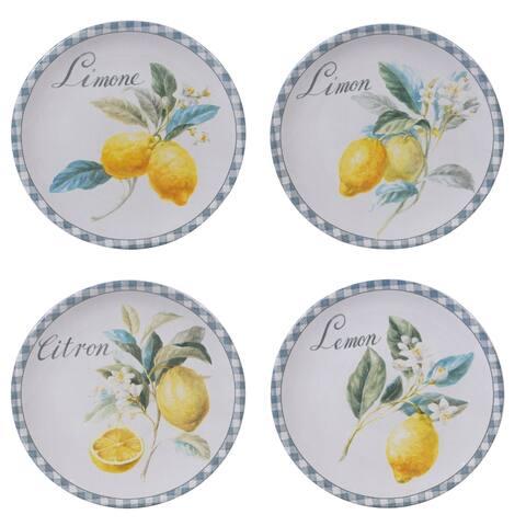 Certified International Citron Assorted Designs Salad Plates, Set of 4