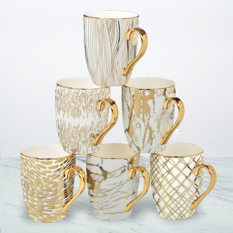 Certified International Matrix Gold Plated Mugs, Set of 6