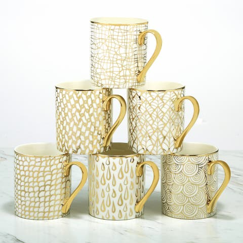 Certified International Mosaic Gold Plated Mugs, Set of 6