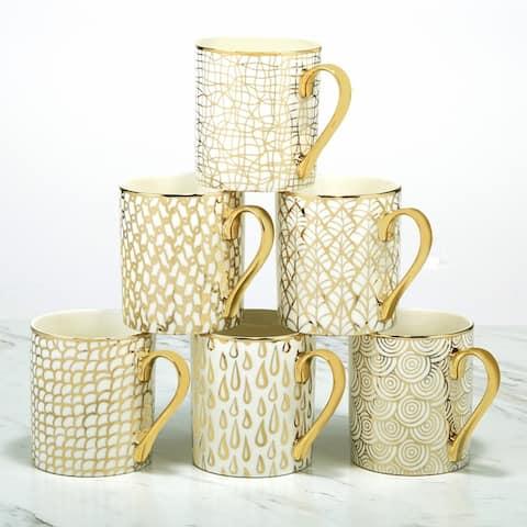 Certified International Mosaic Gold Plated Mugs, Set of 6