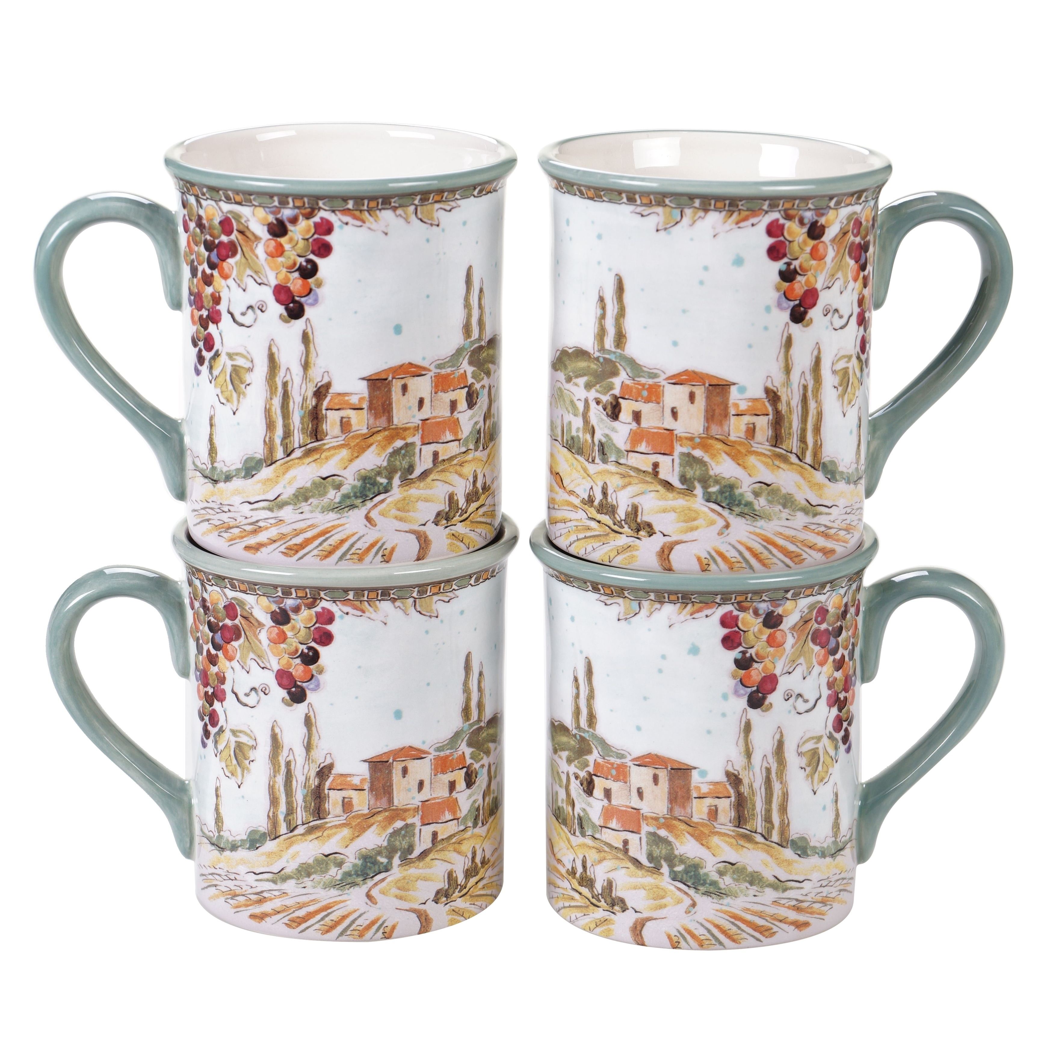 Certified International Tuscan Breeze Mugs Set Of 4 Overstock 29099500