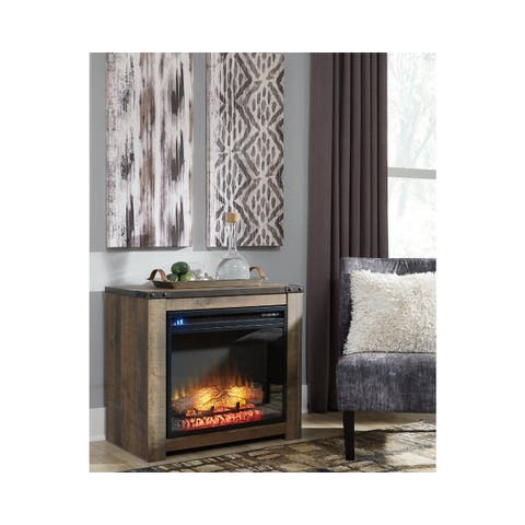 Trinell Casual Fireplace Mantel w/FRPL Insert Brown - n/a
