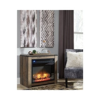 Trinell Casual Fireplace Mantel w/FRPL Insert Brown