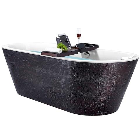 Freestanding Bathtub 71 Inch Black & Brown Acrylic Bathtub Modern Flat Bottom Stand Alone Tub Luxurious SPA Tub