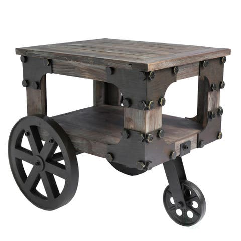 Industrial Wagon Style Small Rustic End Table with Storage Shelf and Wheels