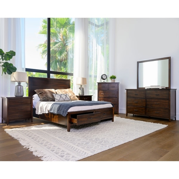 Abbyson Larson Distressed Wood 6 Piece Bedroom Set
