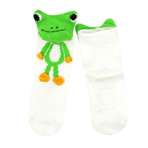 TeeHee Socks Kids Fun Animal Cotton 3D Crew with Non-Skid