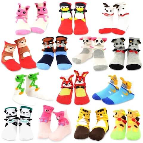 TeeHee Socks Kids Fun Animal Cotton 3D Crew with Non-Skid