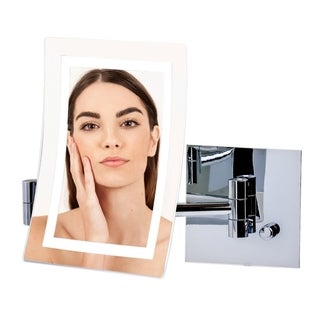 Ovente Wall Mount Mirror With Diffused LED Light, 1X7X Magnification - Polished Chrome