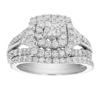 2 Cttw Diamond Wedding Engagement Ring Set 14K White Gold