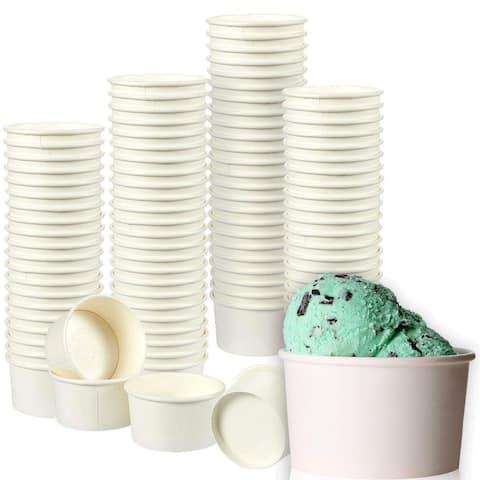 Juvale Ice Cream Sundae Cups - 100-Pack Disposable Paper Frozen Dessert Bowls
