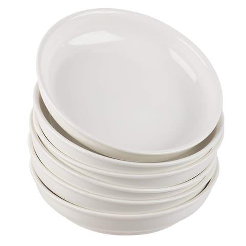 6-Piece Porcelain White Wide Shallow 22oz Serving Bowls for Pasta Salad Soup