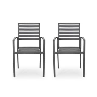 Link to Cape Coral Outdoor Modern Aluminum Dining Chair (Set of 2) by Christopher Knight Home Similar Items in Patio Dining Chairs