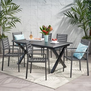Pabara Outdoor Modern 6 Seater Aluminum Dining Set with Expandable Table by Christopher Knight Home