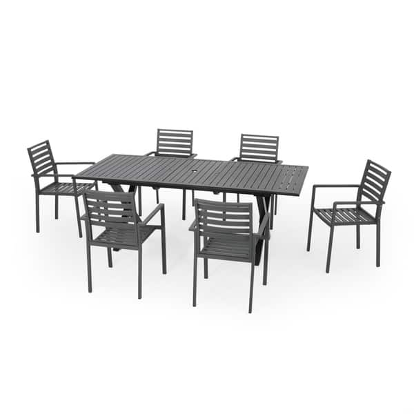 Shop Pabara Outdoor Modern 6 Seater Aluminum Dining Set With Expandable Table By Christopher Knight Home On Sale Overstock 29100029