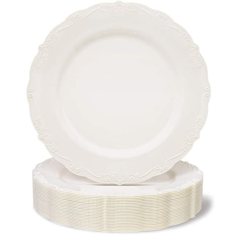 Juvale 25-Pack Cream Plastic Plates for Birthday Bridal Shower Wedding Party