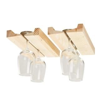 2-Pack Wooden Wine Glass Rack Under Cabinet Hanging Stemware Glass Rack Holder
