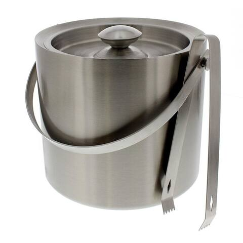 Stainless Steel Ice Bucket - Portable Double Wall Ice Bucket with Tong, Barware